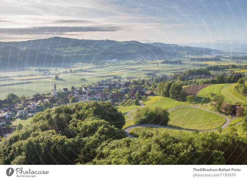 Schönheit Schweiz Umwelt Natur Landschaft Pflanze Himmel Wolken Frühling braun mehrfarbig grün schwarz weiß Dorf Baum Straße Bergen Haus Wege & Pfade Feld