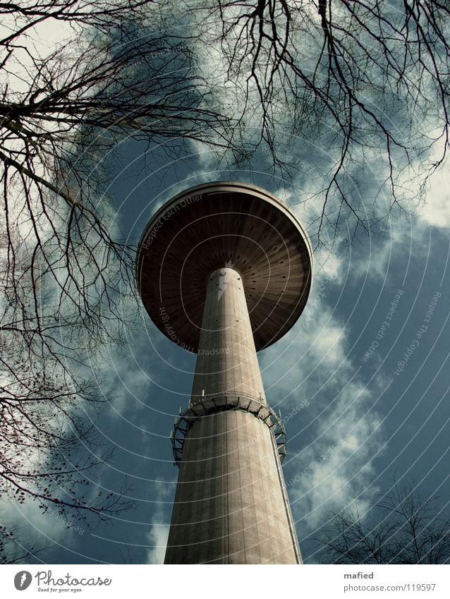 Magic Mushroom grau weiß Macht Baum Wolken Beton Funktechnik Fernsehen Digital-Fernsehen Stengel UFO außerirdisch Wahrzeichen Denkmal Himmel blau Pilz Lamelle