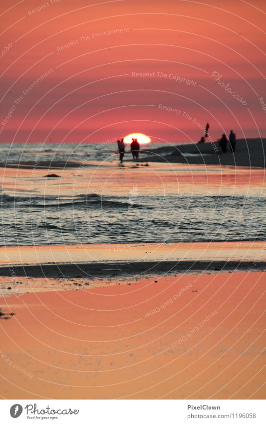 Am Meer Mensch Natur Ferien & Urlaub & Reisen schön Sommer Wasser Sonne rot Landschaft Ferne Strand Gefühle Stil Glück Schwimmen & Baden