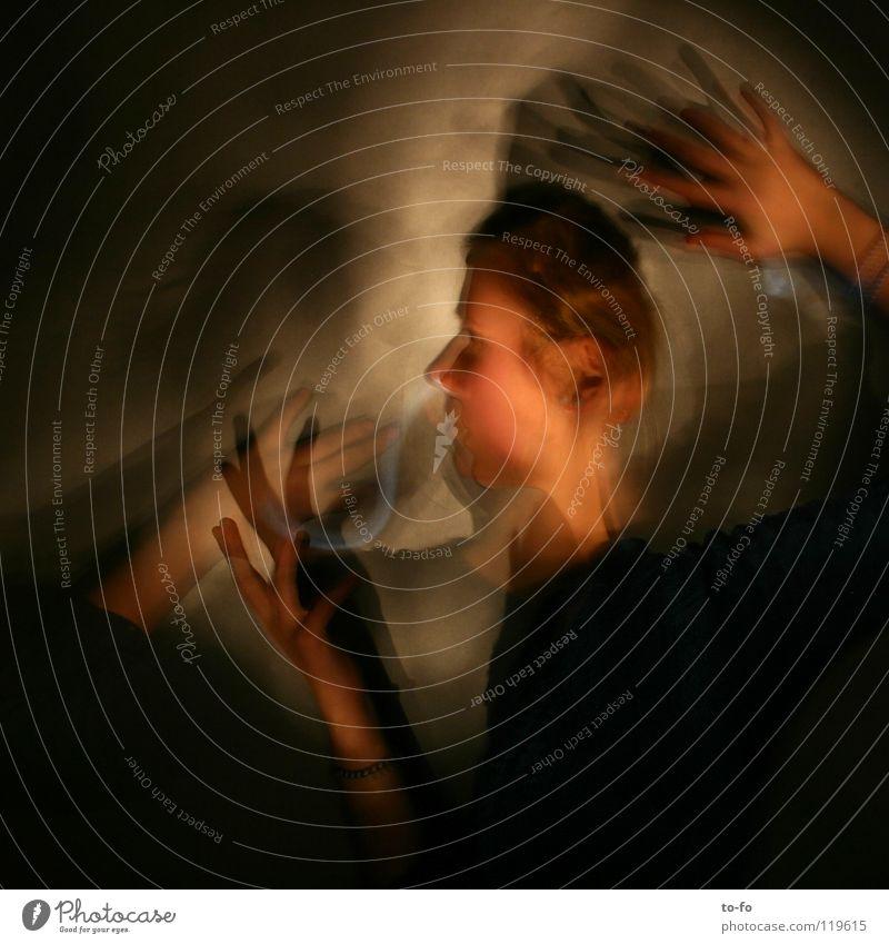 Zeitschleife Hand Jugendliche Spielen Bewegung Kopf Angst Zeit fangen Theaterschauspiel Geister u. Gespenster Panik Märchen Zauberei u. Magie Fee Verzerrung