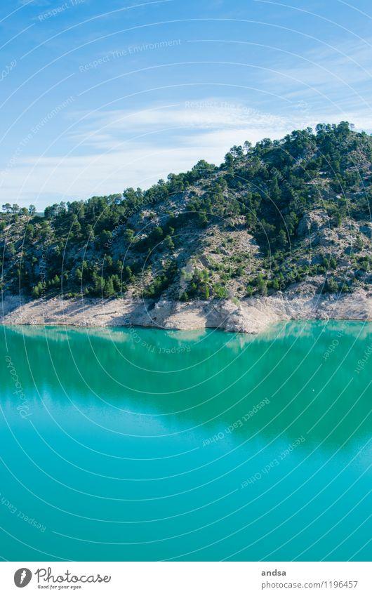 Spanien Natur Landschaft Pflanze Luft Wasser Himmel Wolken Sommer Schönes Wetter Baum Grünpflanze Wildpflanze Wald Hügel Felsen Berge u. Gebirge Seeufer Stausee