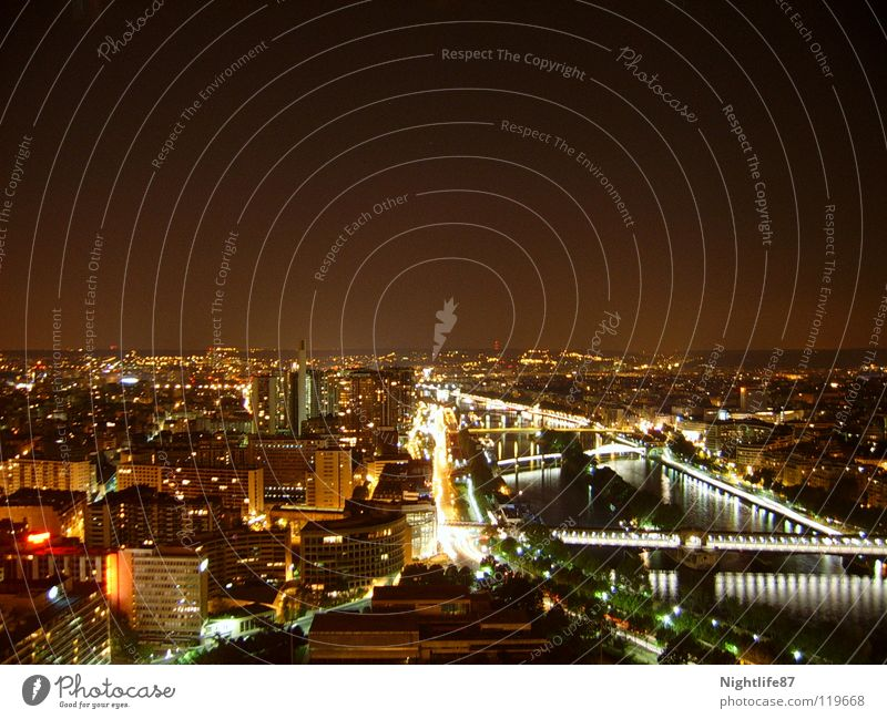 one night in paris city Stadt Beleuchtung hoch Brücke Fluss Turm Paris Verkehrswege Nachtaufnahme Frankreich Seine