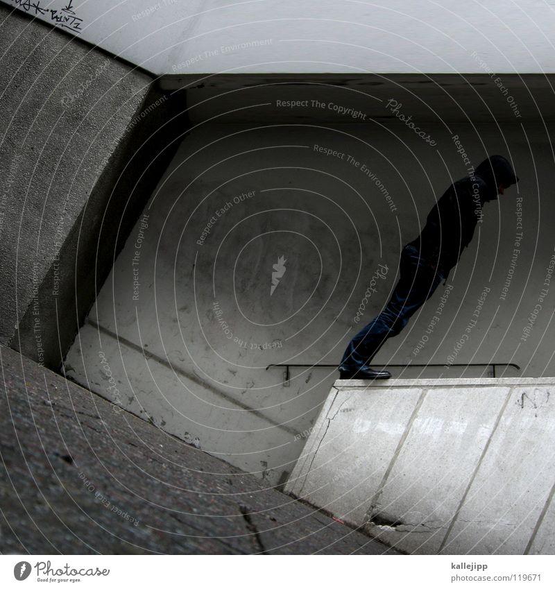 konzentration Mann Silhouette umfallen Fenster Parkhaus Geometrie Gegenlicht Jacke Mantel Mütze Handschuhe ausbreiten Astronaut Zukunft Kragen Held Superman