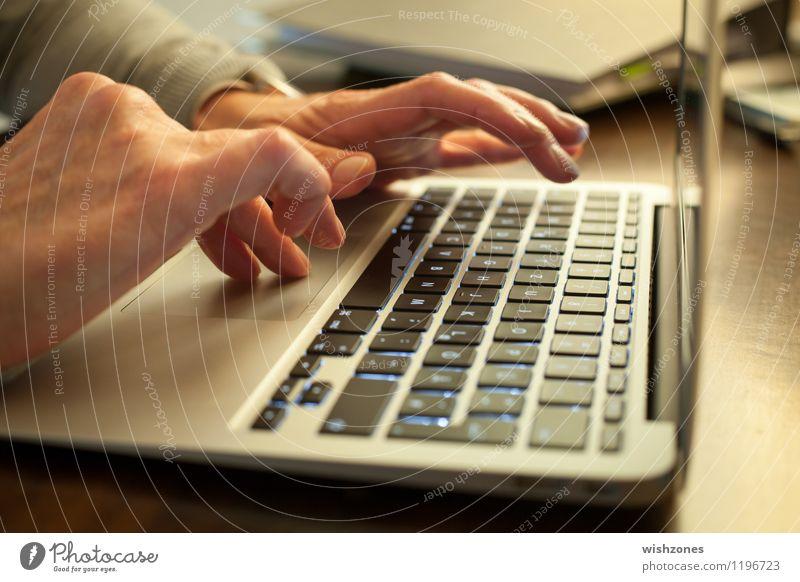 Hands typing on a Laptop Mensch Frau Erwachsene Senior grau Arbeit & Erwerbstätigkeit Business Büro Technik & Technologie Computer lernen Kommunizieren Finger