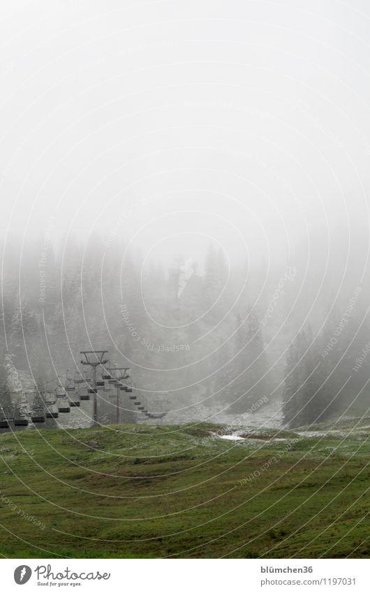 Außer Betrieb Natur Landschaft Himmel Wetter Schnee Wiese Berge u. Gebirge Allgäu Allgäuer Alpen Skilift Seilbahn Sesselbahn Verkehrsmittel stagnierend