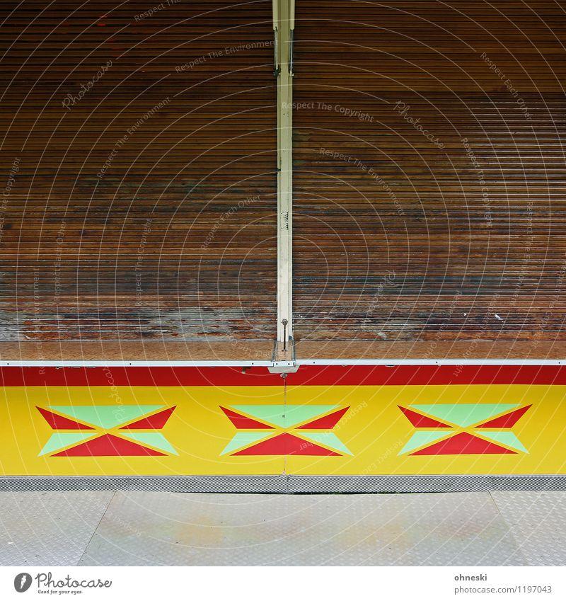 Closed Jahrmarkt Buden u. Stände Fassade Jalousie Rollo mehrfarbig Ende stagnierend geschlossen Farbfoto Außenaufnahme abstrakt Muster Strukturen & Formen