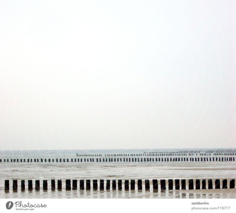 Ostsee Wasser Himmel Meer Strand Ferien & Urlaub & Reisen Ferne Erholung Landschaft Linie Wellen Küste Horizont Perspektive Reihe Buhne
