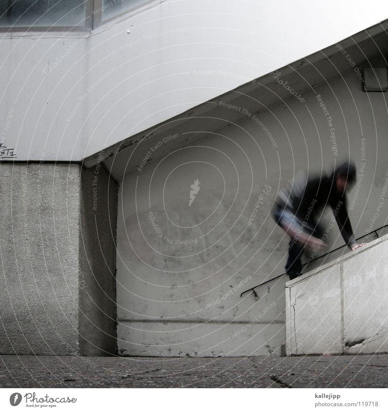 aktion Mann Silhouette umfallen Fenster Parkhaus Geometrie Gegenlicht Jacke Mantel Mütze Handschuhe ausbreiten Astronaut Zukunft Kragen Held Superman Comic