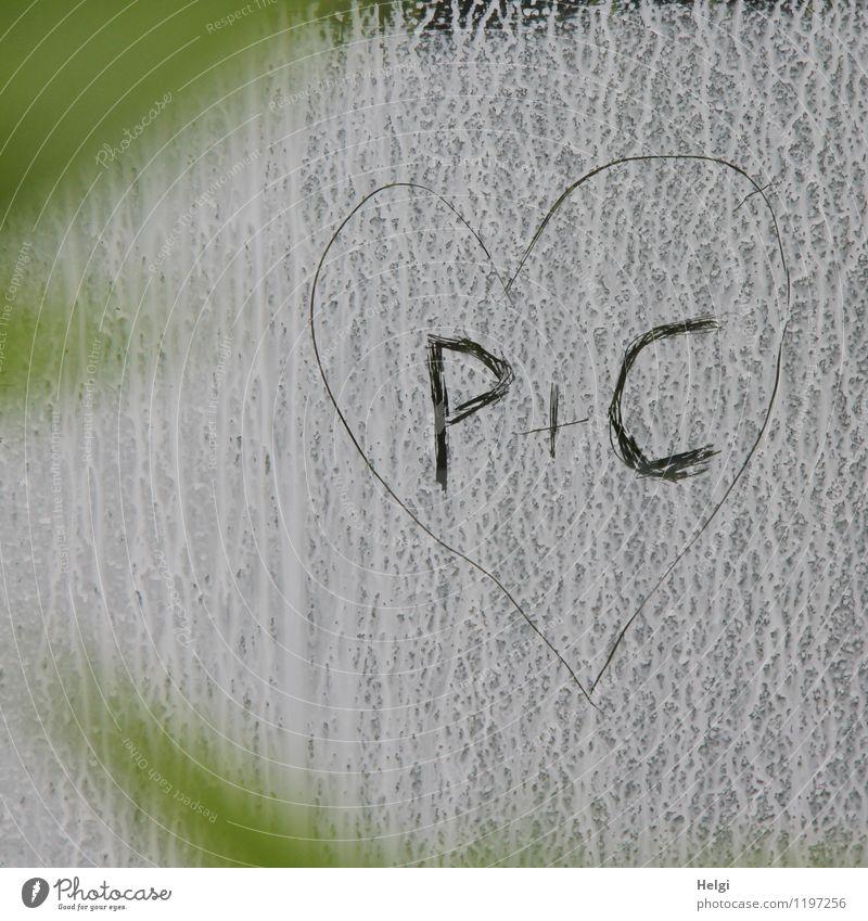 Love...:-) grün Farbe weiß schwarz Liebe Glück grau außergewöhnlich Zusammensein Glas Schriftzeichen Kreativität Lebensfreude Herz einfach einzigartig