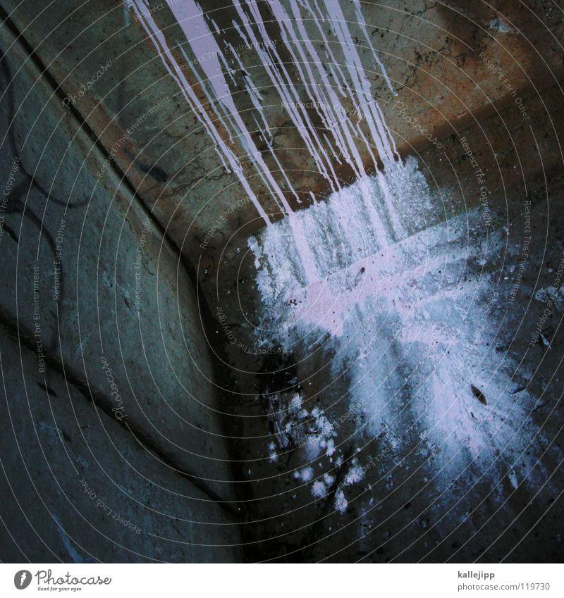 frisch gestrichen! Farbe Straße Graffiti Schnee Wand Mauer Kunst Regen rosa Beton Wassertropfen kaputt Ecke Fluss Müll