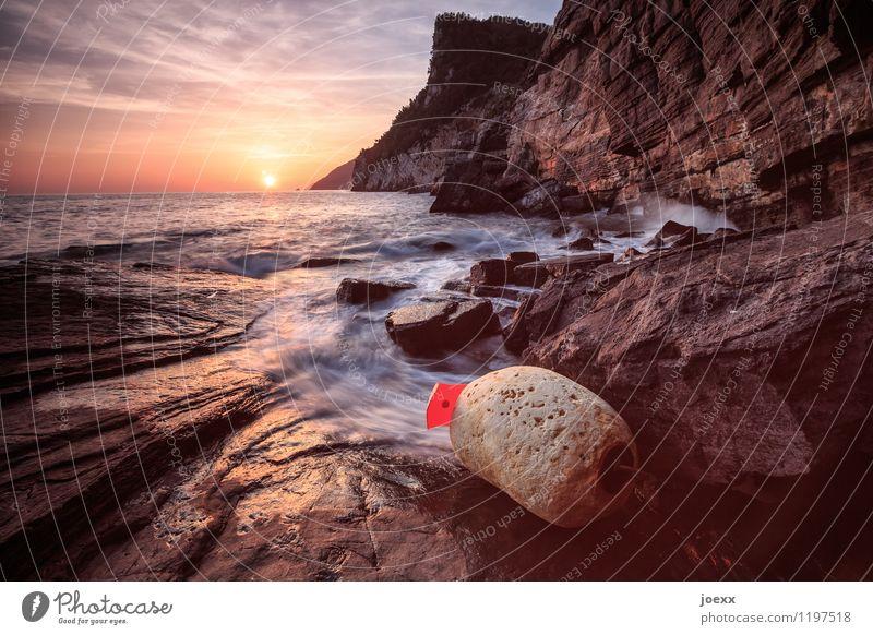 Hoffnung Himmel schön Sonne Meer Landschaft rot ruhig Küste Stein braun Felsen Horizont orange Wellen hoch Schönes Wetter