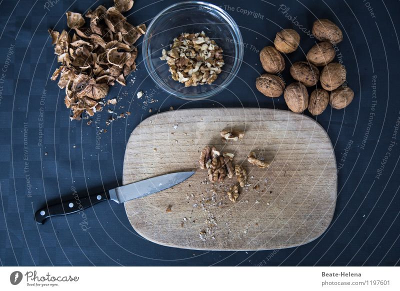 Ganz genüsslich Lebensmittel Nuss Walnuss Ernährung Bioprodukte Vegetarische Ernährung Slowfood Schalen & Schüsseln Messer Schneidebrett schön Gesundheit