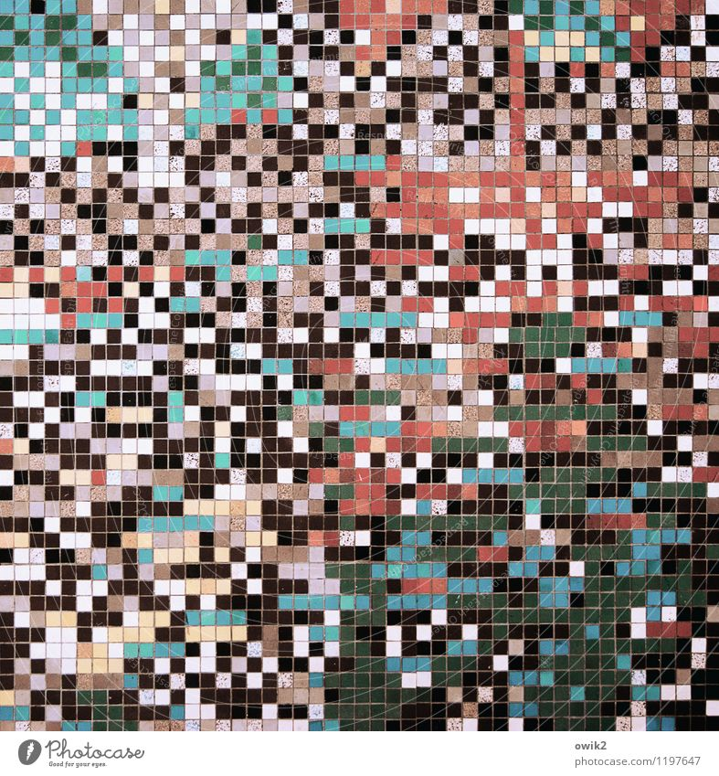 Zufallsprinzip blau weiß rot schwarz Wand Mauer rosa Design Dekoration & Verzierung verrückt viele Quadrat Mosaik Wandmalereien Bildpunkt