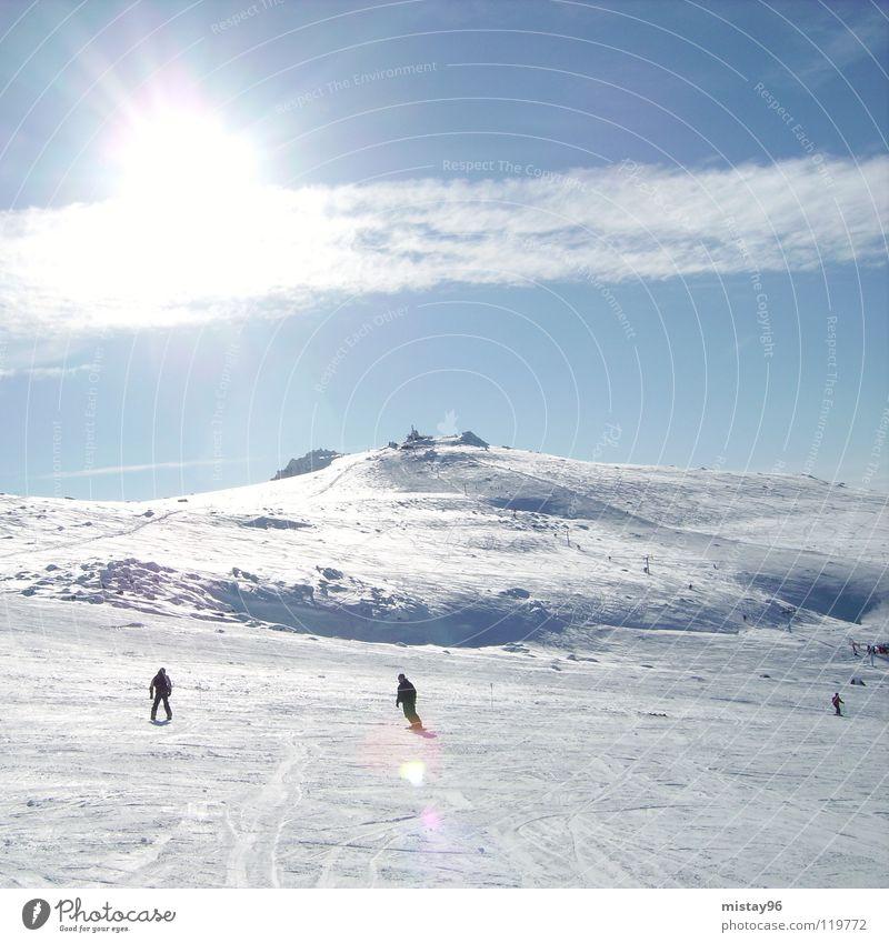 heaven Himmel Wolken Freude Winter Berge u. Gebirge sky sun sunny Skifahren mountain blue clouds white Sonne blau Schönes Wetter Freiheit Natur