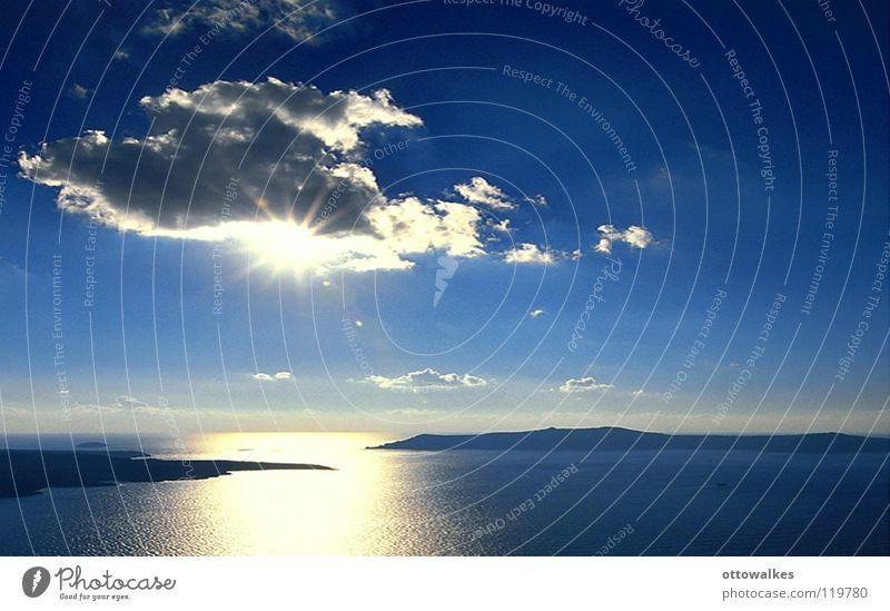 sonnenuntergang Wasser Sonne Meer blau Wolken Insel Sonnenuntergang Blauer Himmel