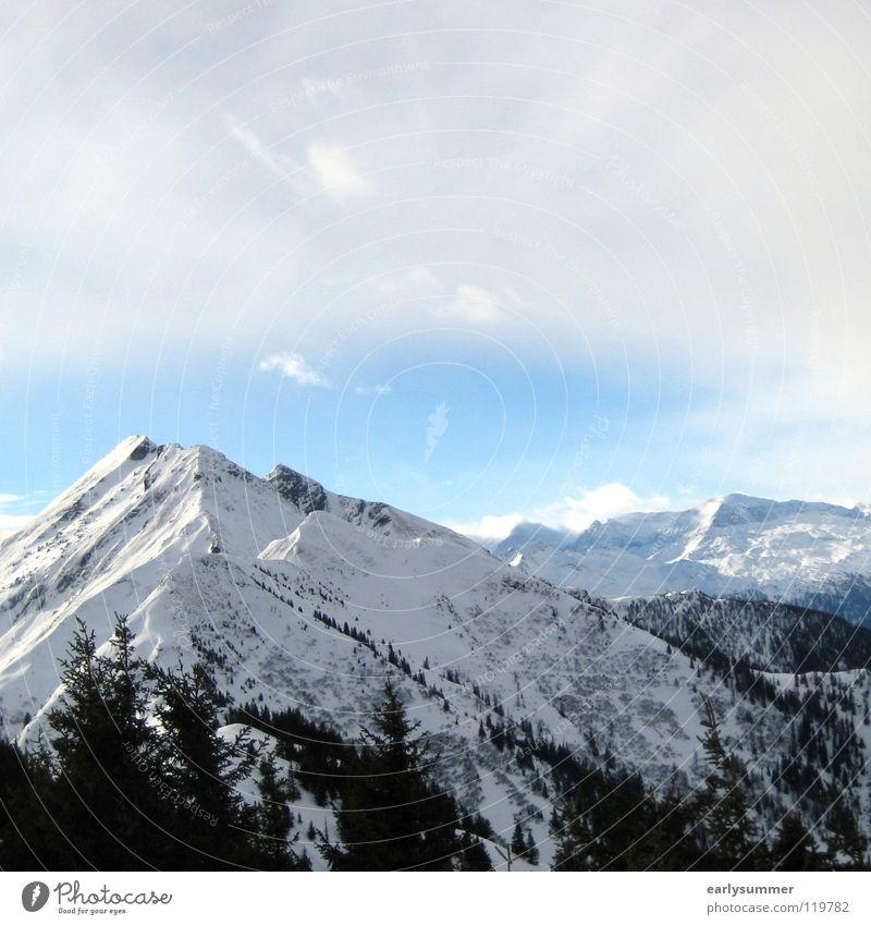 Wolkenbruch Winter Winterurlaub weiß Gipfel Skigebiet Baum Wald Höhenmeter Österreich Berghang Tiefschnee perfekt Regen Teilung Berge u. Gebirge Alpen Sonne