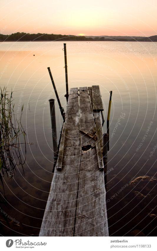 Angler (abwesend) Abend Feierabend Landschaft Mecklenburg-Vorpommern mönchgut Ostsee Ferien & Urlaub & Reisen Reisefotografie Rügen Tourismus Sellin See Steg