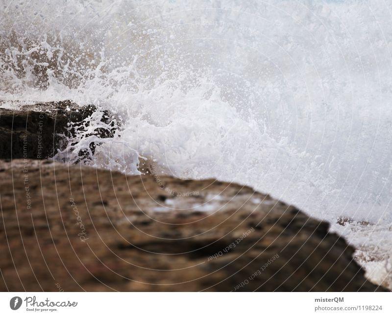 Wasserkraft. Umwelt Natur ästhetisch Wasserkraftwerk Wellen Gischt Küste Sturm rau schlechtes Wetter spritzen Partikel weiß schäumen Aufregung unruhig