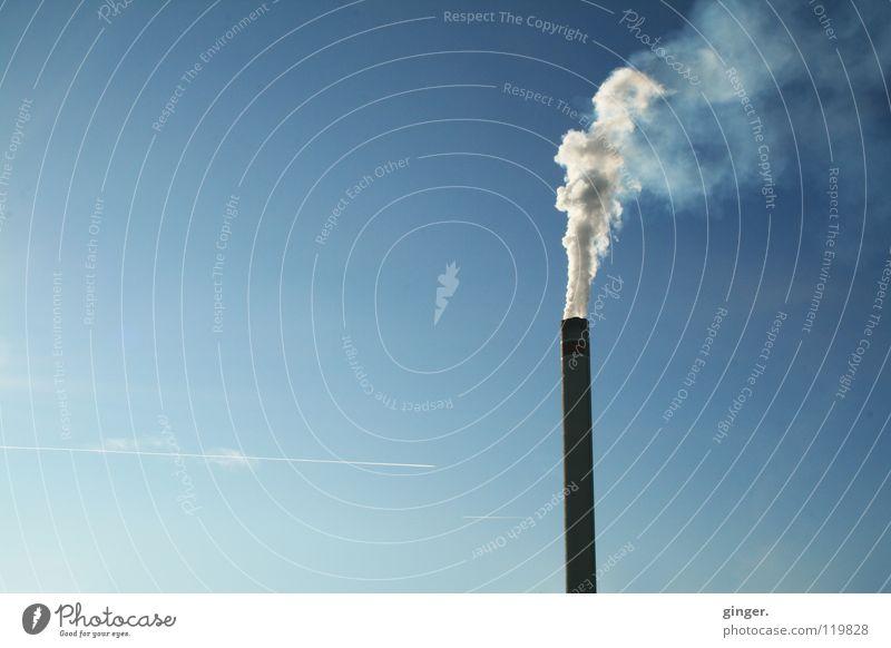 Viel Rauch im Nichts Himmel blau weiß oben hoch leer Industrie Wolkenloser Himmel Schornstein aufsteigen Umweltverschmutzung Emission