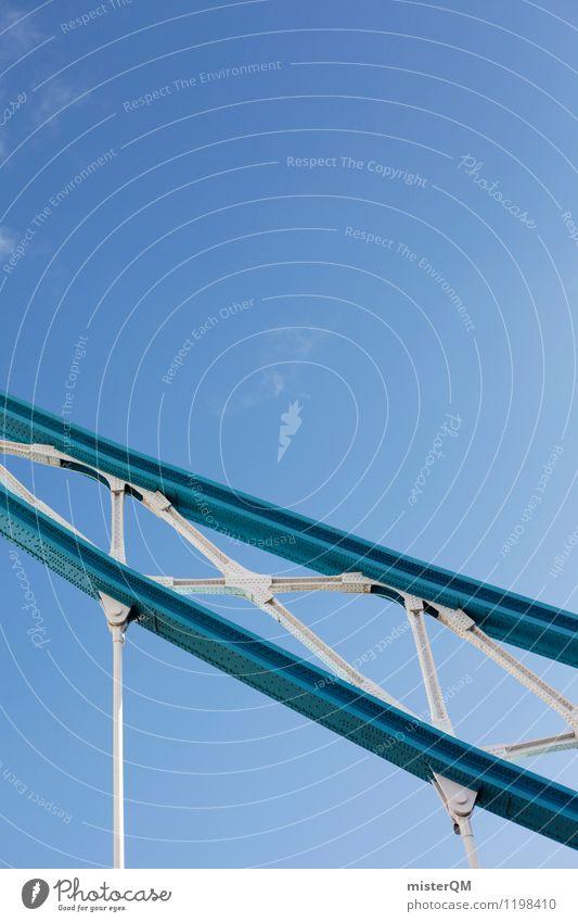 London-Blau. Kunst ästhetisch Zufriedenheit Tower Bridge Blauer Himmel blau Stahl Stahlkonstruktion Brückengeländer Architektur Farbfoto Gedeckte Farben