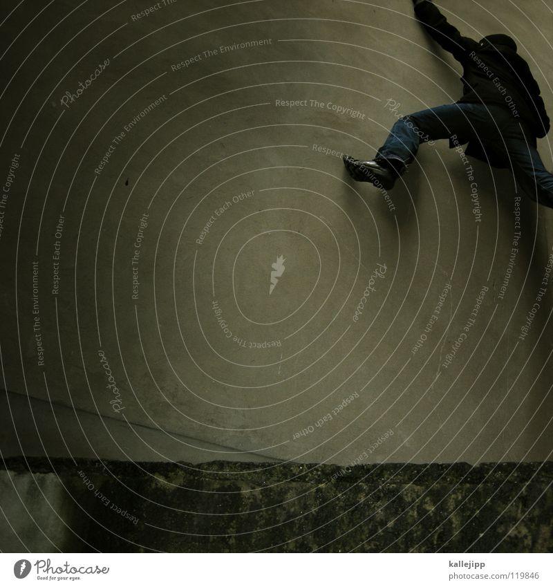 plattenausbruch Mann Silhouette umfallen Fenster Parkhaus Geometrie Gegenlicht Jacke Mantel Mütze Handschuhe ausbreiten Astronaut Zukunft Kragen Held Superman