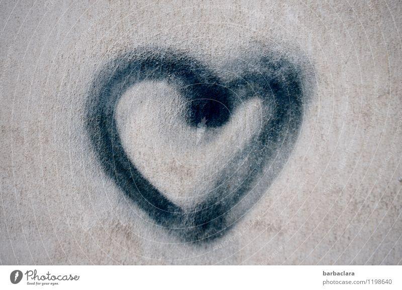 HERZliche Glückwünsche... schwarz Wand Liebe Gefühle Gebäude Mauer Glück grau Stein Fassade Design Dekoration & Verzierung Beton Herz Zeichen Romantik