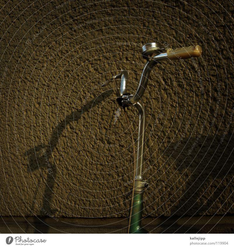 goldesel Fahrrad Oldtimer Rad Hinterhof Gitter Einfahrt Abstellplatz Studium Billig ökologisch Klimaschutz Gummi Silhouette Ständer Mauer Rücklicht Rennrad rosa