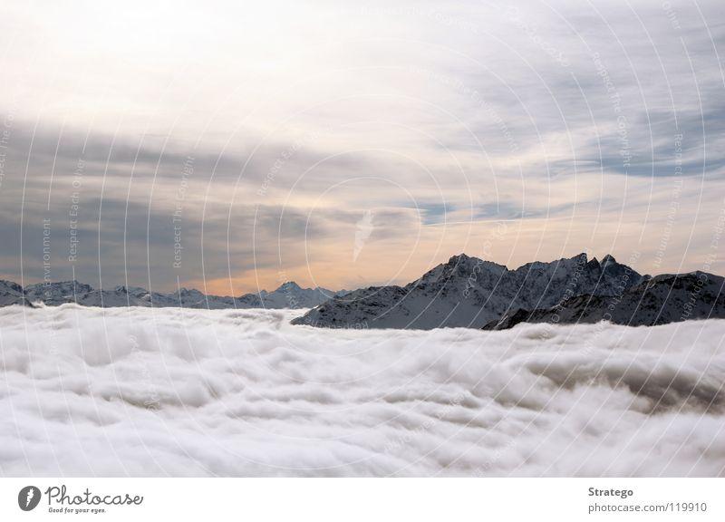 Übersicht Wolken Nebel Nebelmeer Gipfel Kanton Graubünden alpin Schweiz Winter kalt Himmel Berge u. Gebirge Schnee Alpen Lenzerheide Piz Scalottas Aussicht hoch