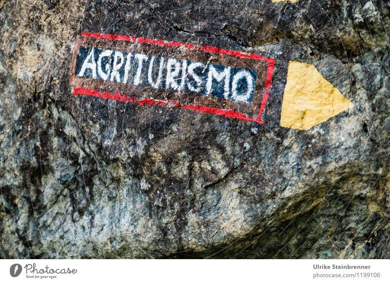 Buon indirizzo Ferien & Urlaub & Reisen weiß rot Berge u. Gebirge gelb Wege & Pfade Raum Tourismus Häusliches Leben wandern Schilder & Markierungen