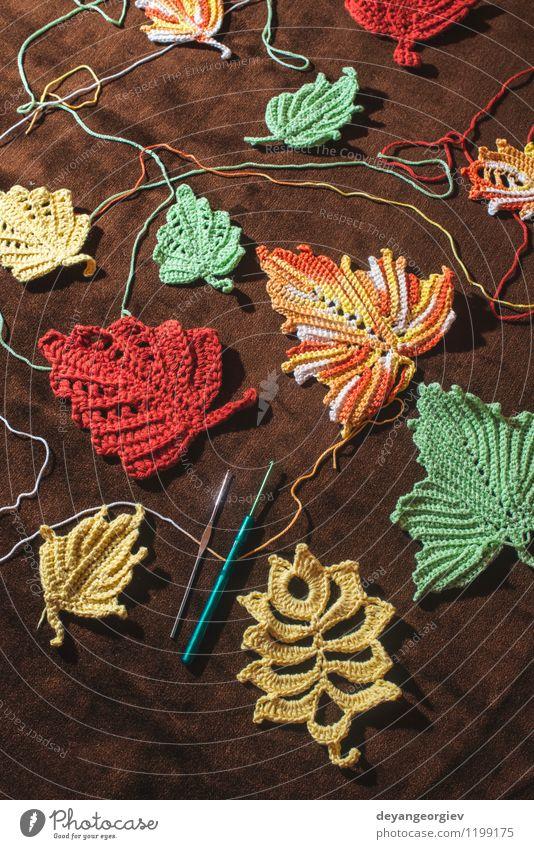 Gestrickte Herbstblätter auf braunem Textil Glück schön stricken Erntedankfest Natur Blatt Pullover Hut gelb rot fallen gestrickt Hintergrund Jahreszeiten Ahorn