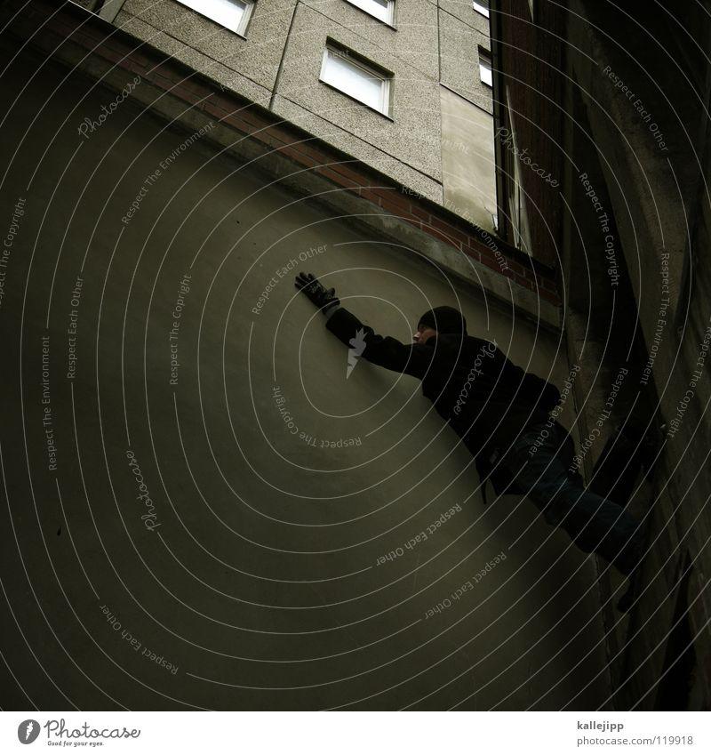 platteneinbruch Mann Silhouette Dieb Krimineller Ausbruch Flucht umfallen Fenster Parkhaus Geometrie Gegenlicht Jacke Mantel Mütze Thriller Handschuhe