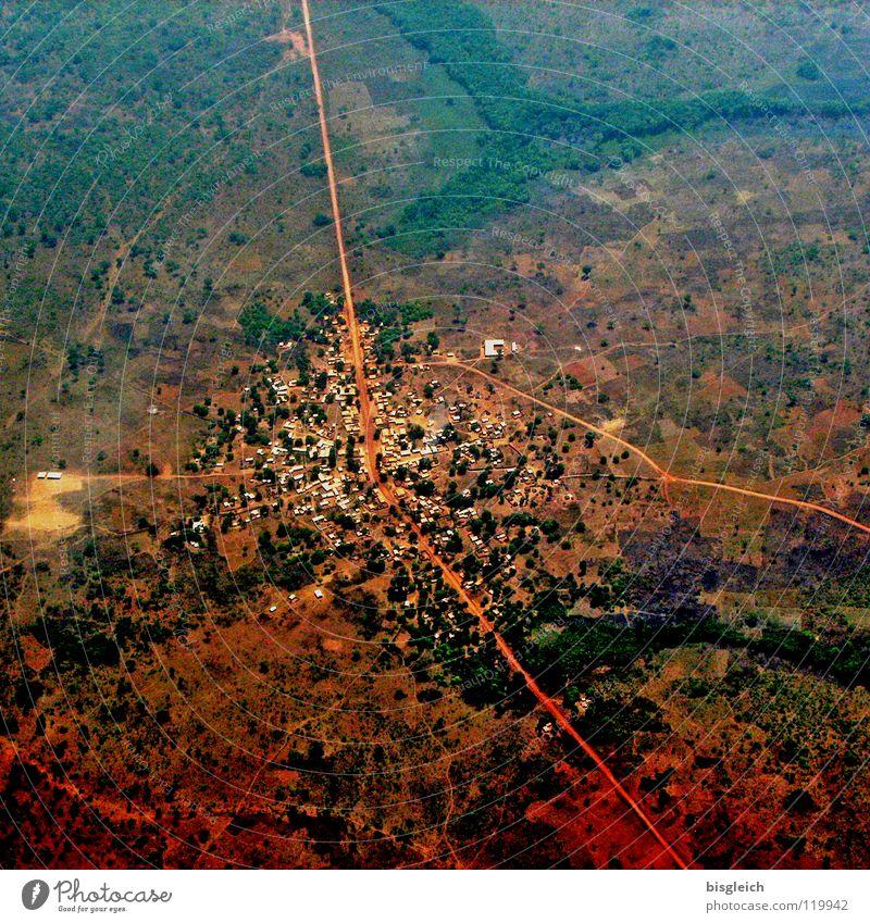 Kamerun von oben II Stadt Ferne Straße Landschaft braun Flugzeug Luftverkehr Afrika Vogelperspektive Luftaufnahme