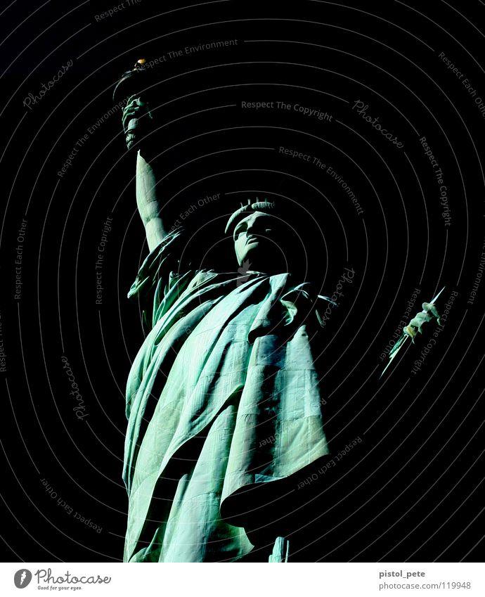 miss liberty New York State New York City Statue Wahrzeichen Denkmal Kunst Kultur statue of liberty Schwarzweißfoto liberty island Freiheitsstatue