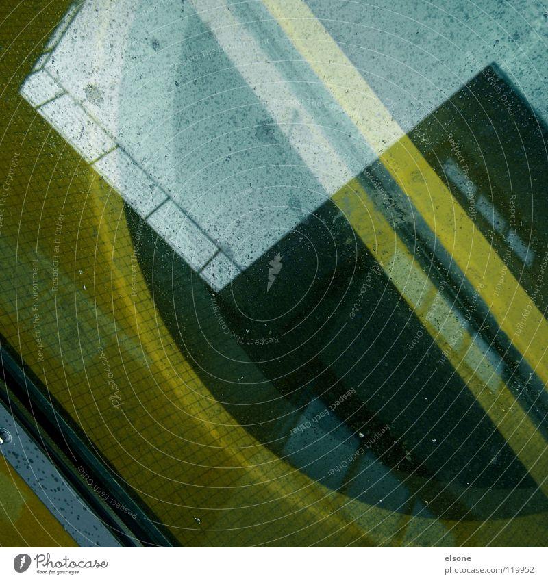 ::[--><--]:: Haus gelb Stein Gebäude Linie 2 Metall Kunst glänzend Wohnung Glas verrückt modern Niveau Baustelle