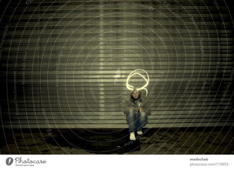 FULL OF TENSION Mensch Mann Jugendliche Einsamkeit dunkel Graffiti Wand Lampe Kunst Beleuchtung sitzen dreckig stehen leuchten Kreis Lifestyle