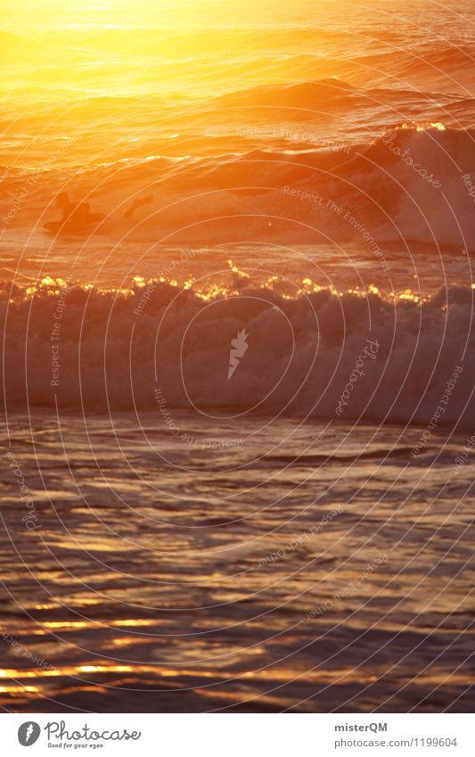sunset surf. Kunst Abenteuer ästhetisch Zufriedenheit Surfer Surfen Wellengang Wellenform Wellenschlag Wellenlinie Wellenkuppe Sport sportlich Sommerurlaub