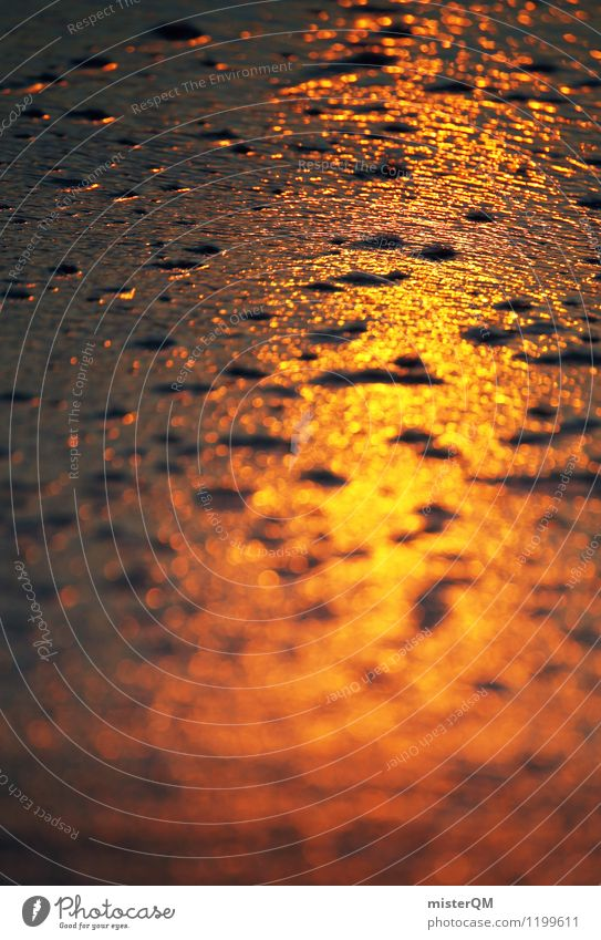 Rotgold. Kunst ästhetisch Zufriedenheit Sonnenuntergang Sonnenlicht Sonnenstrahlen Sonnenenergie Strand Sandstrand Reflexion & Spiegelung Unschärfe Küste Boden