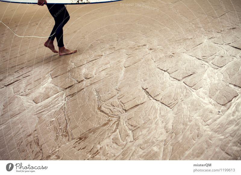 back home. Kunst Abenteuer ästhetisch Zufriedenheit Surfer Surfen Surfbrett Sand Sandstrand Beine Strukturen & Formen Portugal Sommer Sommerurlaub