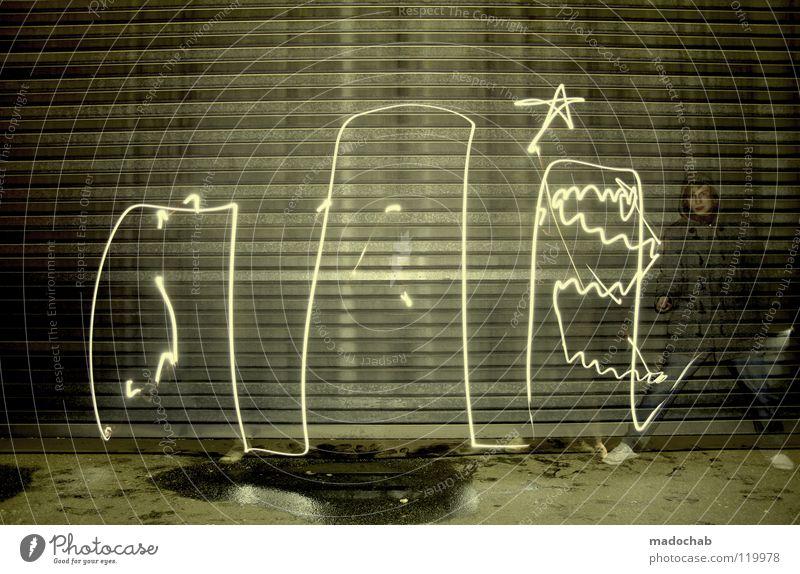 DIE DREI AMIGOS Mensch Mann stehen Wand Licht Straßenkunst Nacht Kampagne Lifestyle temporär ungesetzlich dunkel spontan Stern (Symbol) Zeitreise Gegenwart