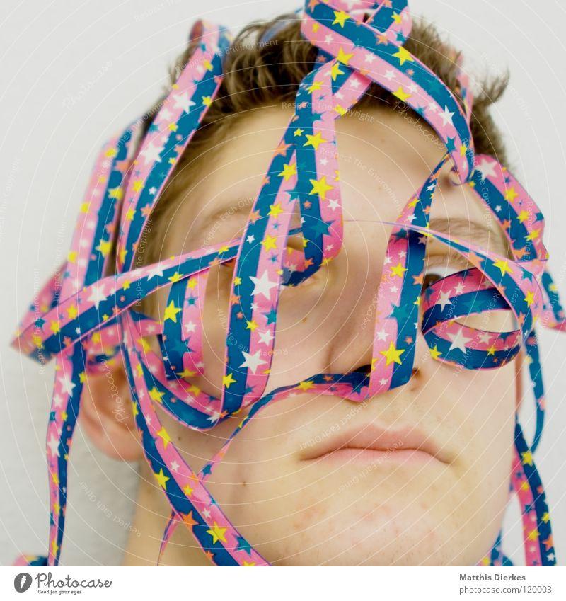 Geteert und gefedert Freude Gesicht Party Glück lachen Mund Feste & Feiern lustig Nase Geburtstag Stern (Symbol) Fröhlichkeit Silvester u. Neujahr Dekoration & Verzierung Maske Karneval