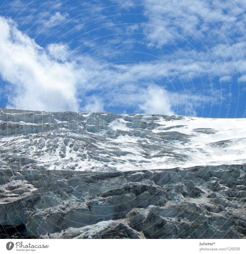 Brrr...Gletscher Himmel Wolken kalt Berge u. Gebirge Schnee Eis Wind gefährlich bedrohlich Klettern Bergsteigen Bergkamm Minusgrade