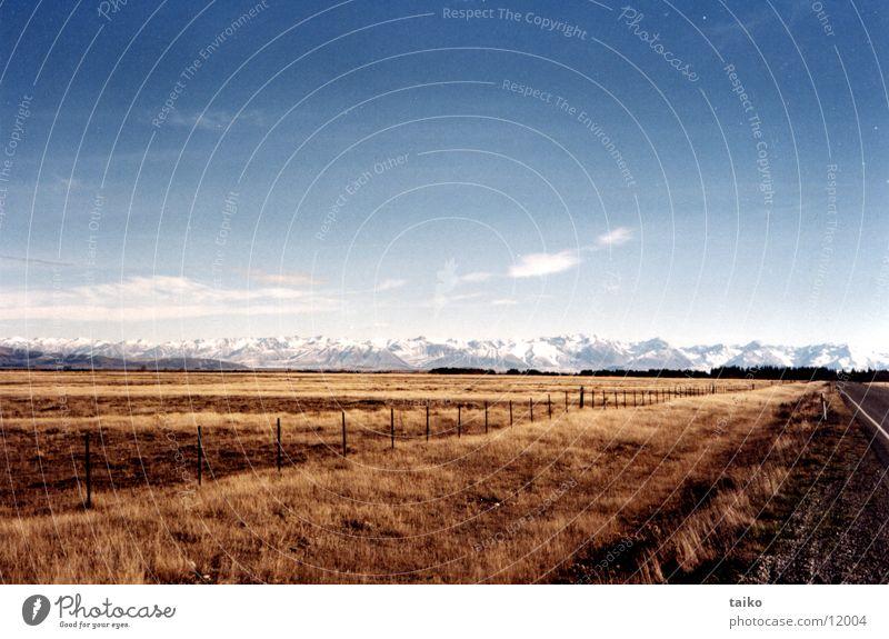 McKenzie-Country Neuseeland Südinsel Gipfel Schnee Steppe Gras braun trocken Wolken Einsamkeit Menschenleer Himmel gelb Australien Berge u. Gebirge Alpen Ferne
