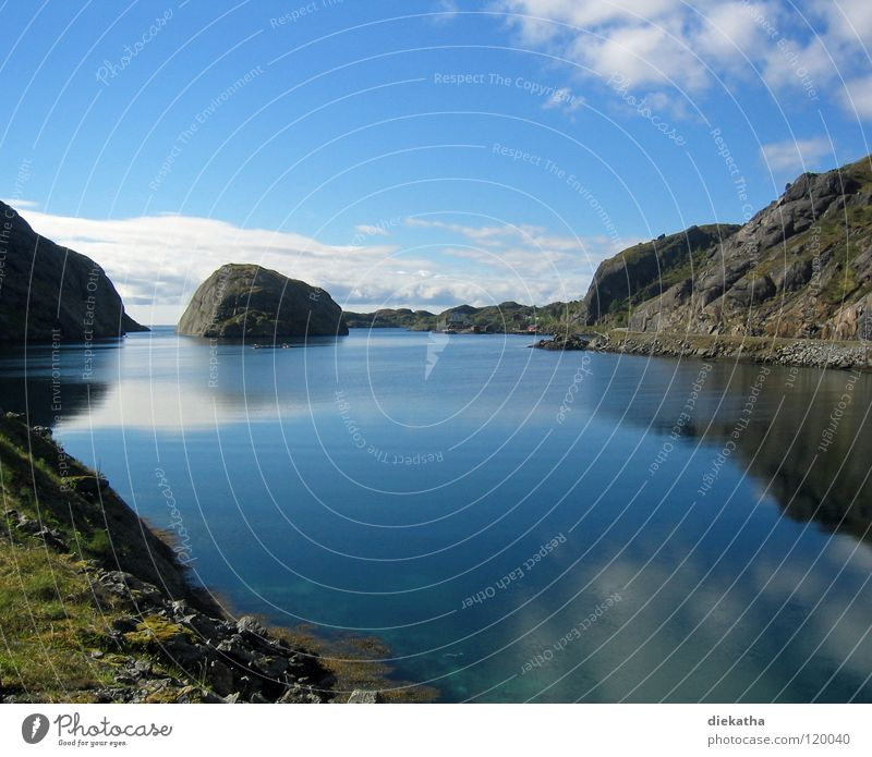 norwegian summer Natur Wasser Himmel Sonne blau Ferien & Urlaub & Reisen ruhig Wolken Einsamkeit Ferne Erholung Berge u. Gebirge See Norwegen Fjord