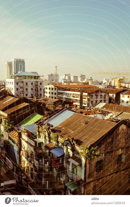 Yangon Stadt Haus Fenster Wand Architektur Gebäude Mauer Fassade Hochhaus Schönes Wetter Kultur Dach Bauwerk Asien Balkon Skyline