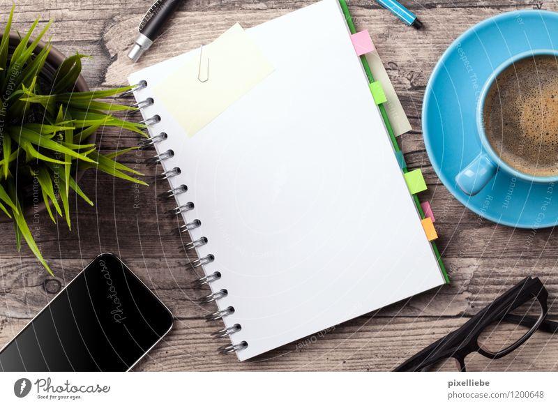 Büro-Alltag Holz Schule Lifestyle Arbeit & Erwerbstätigkeit Business Tisch lernen Studium Papier Brille Kaffee Bildung trendy Handy Sitzung