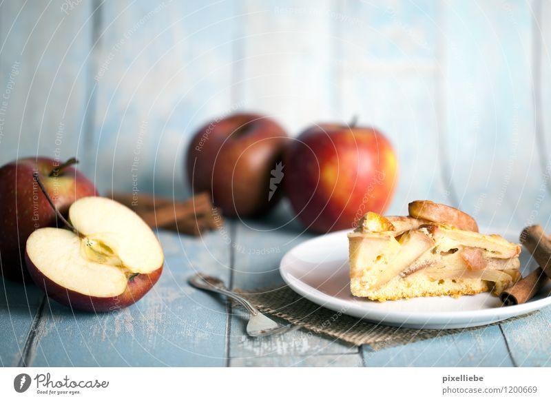 Apfelkuchen mit Äpfeln und Zimt Lebensmittel Frucht Teigwaren Backwaren Kuchen Dessert Süßwaren Ernährung Essen Kaffeetrinken Vegetarische Ernährung Geschirr