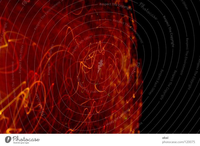 Für Gerti Ufolampe Fernsehlampe Belichtung UFO krumm Lichtspiel Langzeitbelichtung Experiment Streifen Glasfaser Studie mehrfarbig rot gelb magenta LSD