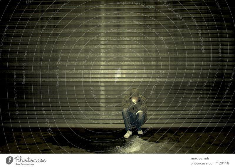 ENLIGHTENED SOUL Mensch Mann Einsamkeit ruhig dunkel Graffiti Wand Traurigkeit Lampe Kunst Beleuchtung sitzen dreckig stehen leuchten Kreis