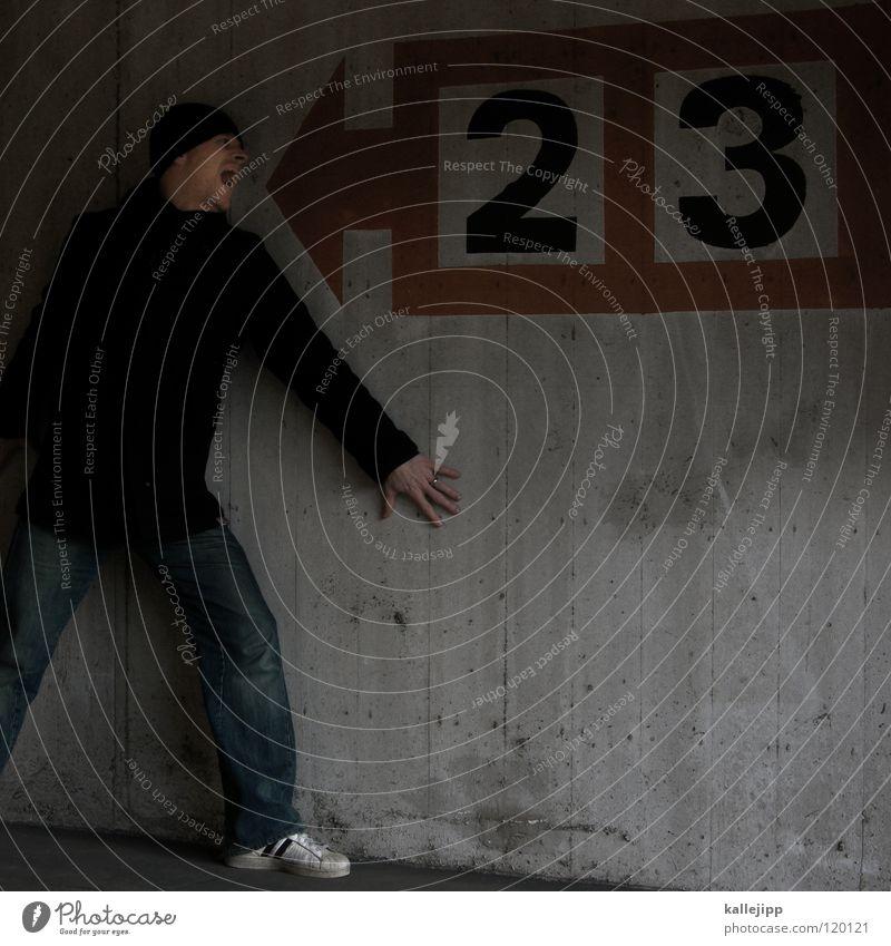 illuminaten Mensch Mann Hand rot Haus Wege & Pfade Denken hell 2 Linie Horizont Arbeit & Erwerbstätigkeit gehen Arme dreckig laufen