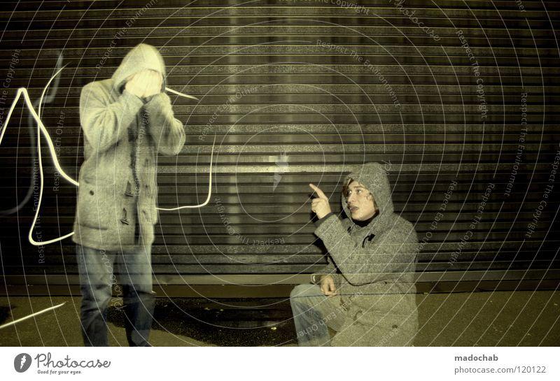 AS SEEN ON TV Mensch Mann Jugendliche Einsamkeit ruhig dunkel Graffiti Wand Traurigkeit Denken Lampe Kunst 2 Beleuchtung Angst sitzen
